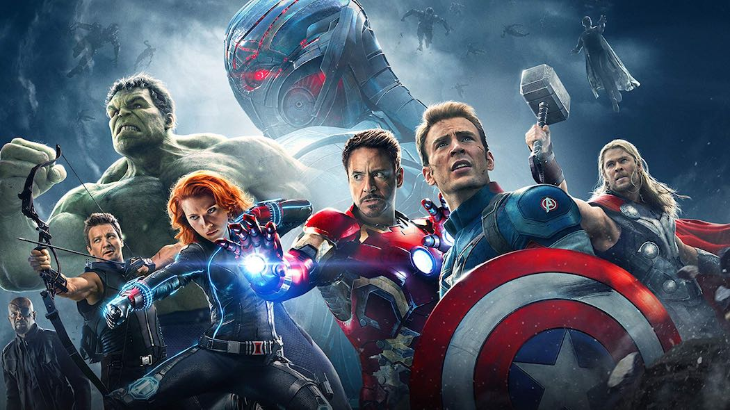 Samuel L. Jackson, Robert Downey Jr., James Spader, Paul Bettany, Chris Evans, Scarlett Johansson, Jeremy Renner, Mark Ruffalo, and Chris Hemsworth in Avengers- Age of Ultron (2015)