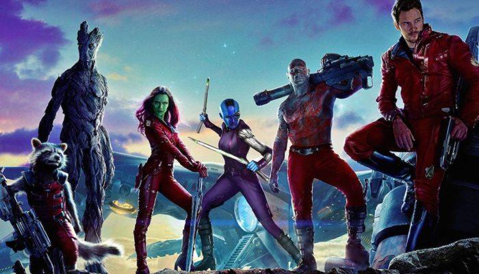 Vin Diesel, Bradley Cooper, Chris Pratt, Zoe Saldana, Dave Bautista, and Karen Gillan in Guardians of the Galaxy (2014)
