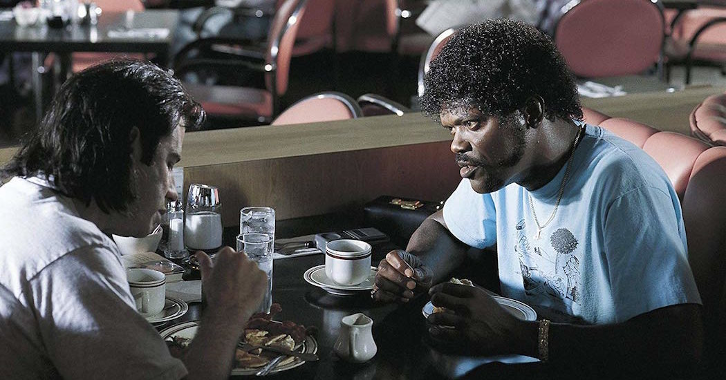 Samuel L. Jackson and John Travolta Enjoy Breakfast at Hawthorne's in Pulp Fiction (1994)