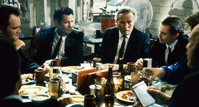 Steve Buscemi, Quentin Tarantino, Michael Madsen, Edward Bunker, and Lawrence Tierney Exchange Dialogue in Quentin Tarantino's Reservoir Dogs